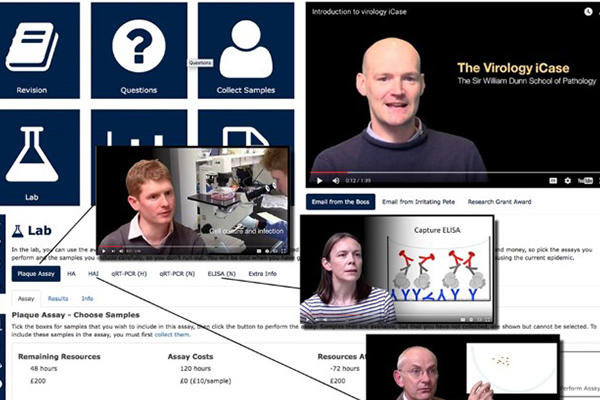 Collage of screenshots from the viral outbreak online icase teaching platform.