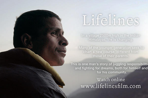 Makar Singh gazes towards the Indian Himalayas on a promotional poster for the Lifelines documentary film. Photo with kind permission of Dr Jane Dyson (all rights reserved).