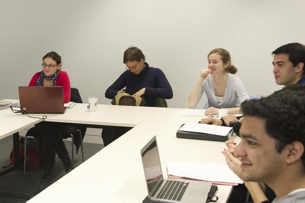 Seven students attending a seminar at University of Oxford, UK