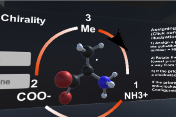 screenshot of the chemistry vr app visualising molecule structures